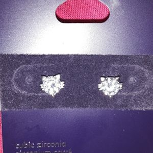Sterling silver cubic zirconia CAT earrings